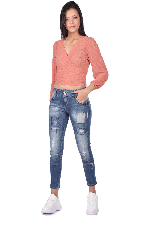 Blue White Kadın Desenli Şalvar Kot Pantolon