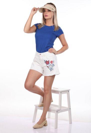 Blue White Kadın Çiçek Desenli Şort - Thumbnail