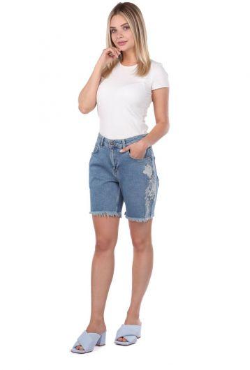 Blue White Kadın Jean Şort - Thumbnail