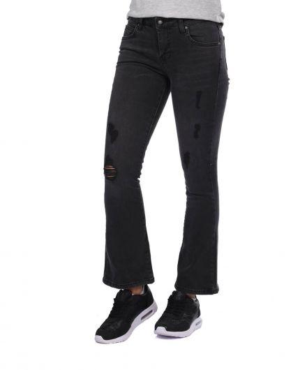 BLUE WHITE - Blue White Kadın Siyah İspanyol Jean Pantolon (1)