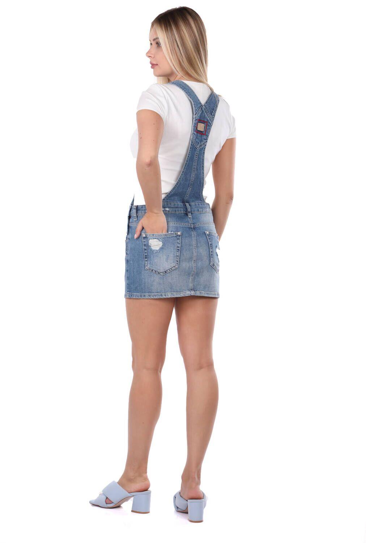 Blue White Kadın Jean Tulum Etek