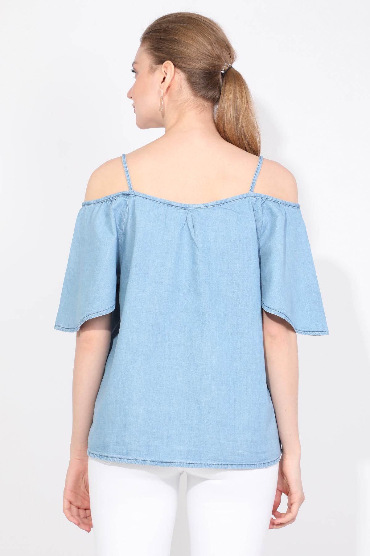 Blue White Kadın Jean Bluz