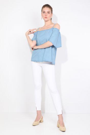 Blue White Kadın Jean Bluz - Thumbnail
