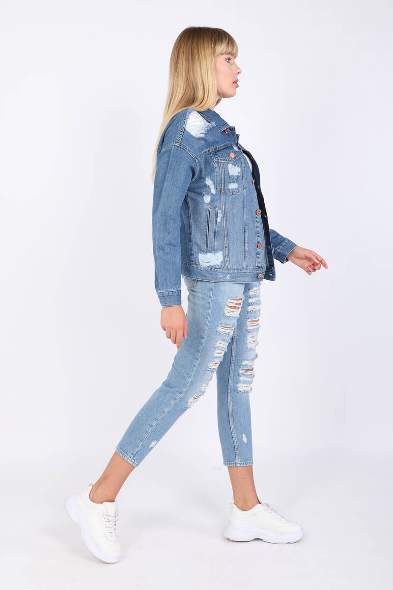 Blue White Kadın Yırtık Detaylı Jean Ceket