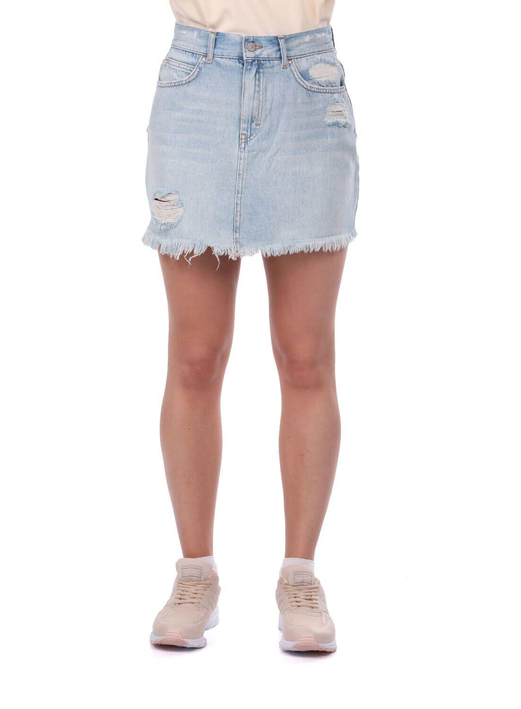 Blue White Kadın Yırtık Mini Jean Etek