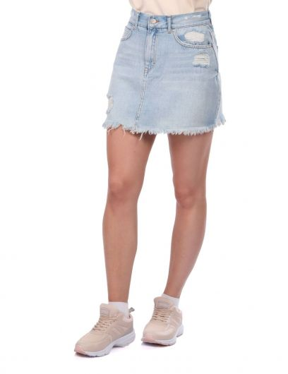 BLUE WHITE - Blue White Kadın Yırtık Mini Jean Etek (1)