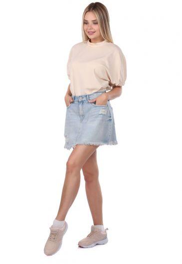 Blue White Kadın Yırtık Mini Jean Etek - Thumbnail