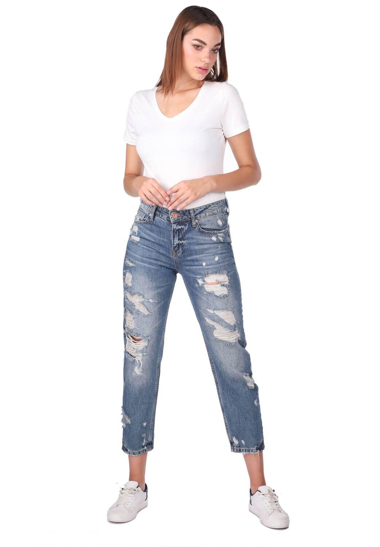 Blue White Kadın Yırtık Mom Fit Jean Pantolon
