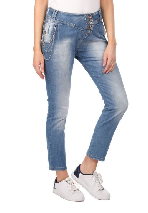 Blue White Kadın Zincirli Jean Pantolon