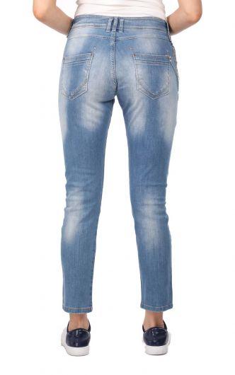 Blue White Kadın Zincirli Jean Pantolon - Thumbnail