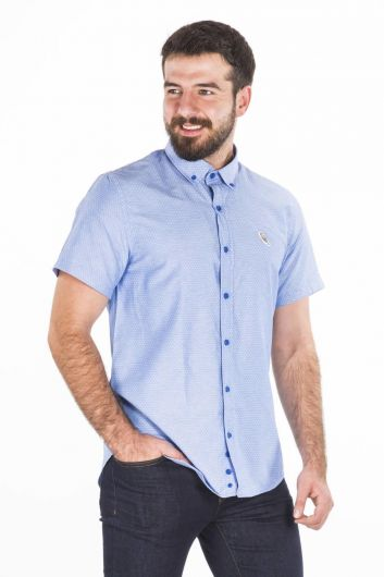 Blue White Kısa Kol Gömlek - Thumbnail