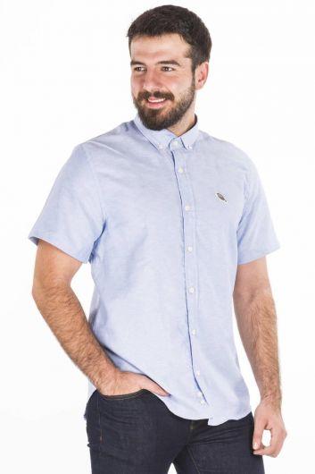 Blue White Erkek Kısa Kollu Gömlek - Thumbnail