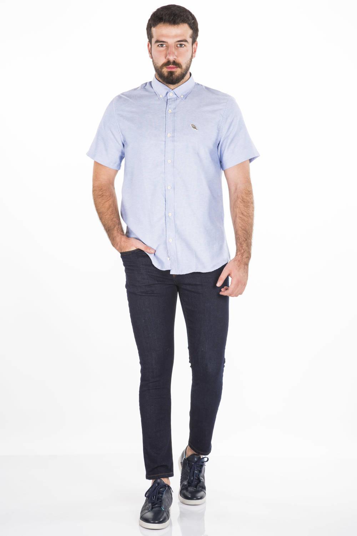 Blue White Erkek Kısa Kollu Gömlek