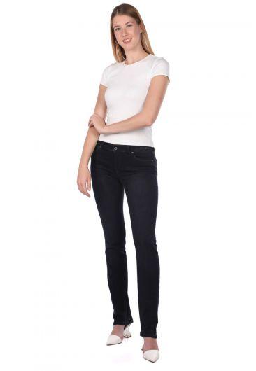 Синие белые женские джинсовые брюки с низкой талией - Thumbnail