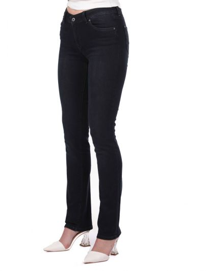 BLUE WHITE - Blue White Low Waist Women Jean Trousers (1)