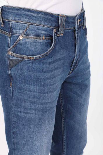 BLUE WHITE - Синие белые мужские синие джинсовые брюки (1)