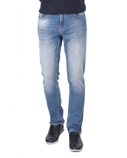 Сине-белые мужские повседневные джинсовые брюки - Thumbnail