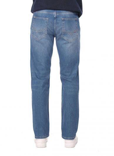 Blue White Men's Comfort Jean Trousers - Thumbnail