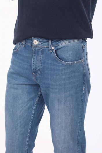 Комфортные джинсовые брюки мужские сине-белые - Thumbnail