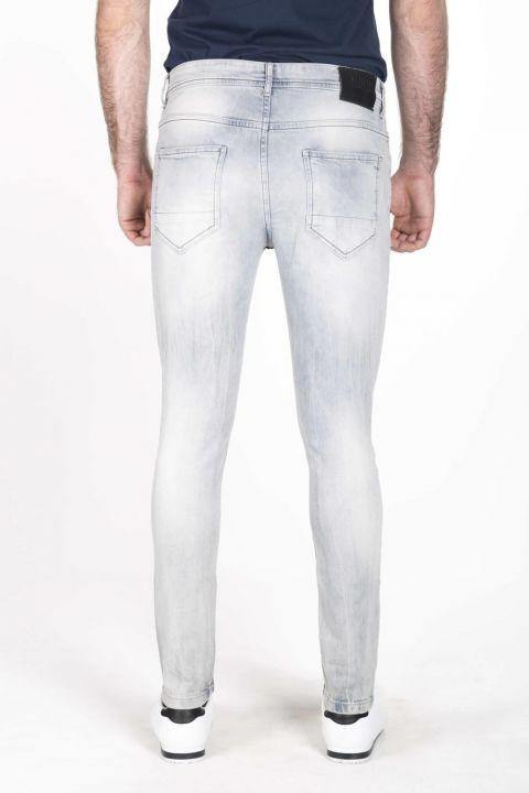 بنطلون جينز أزرق أبيض للرجال