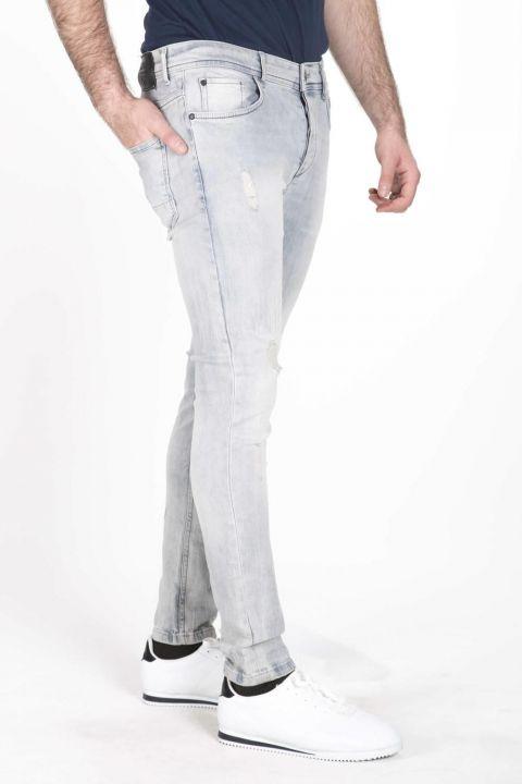 Брюки мужские джинсовые синие белые