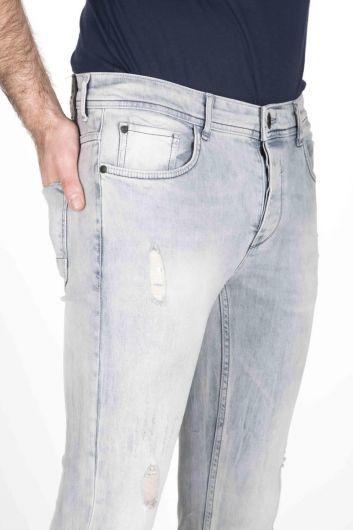 Брюки мужские джинсовые синие белые - Thumbnail