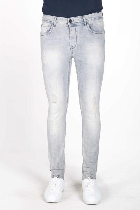 Blue White Men's Jean Trousers