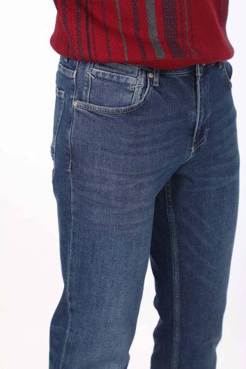 بنطلون جينز أزرق أبيض للرجال - Thumbnail