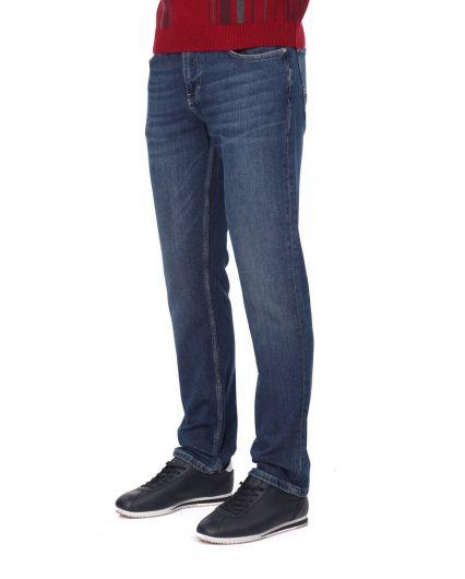 BLUE WHITE - Синие белые мужские джинсы индиго (1)