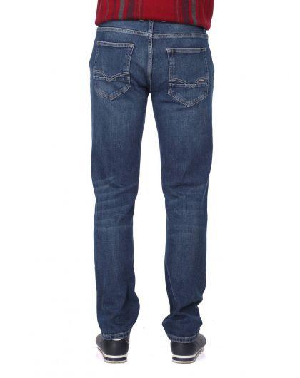 Синие белые мужские джинсы индиго - Thumbnail
