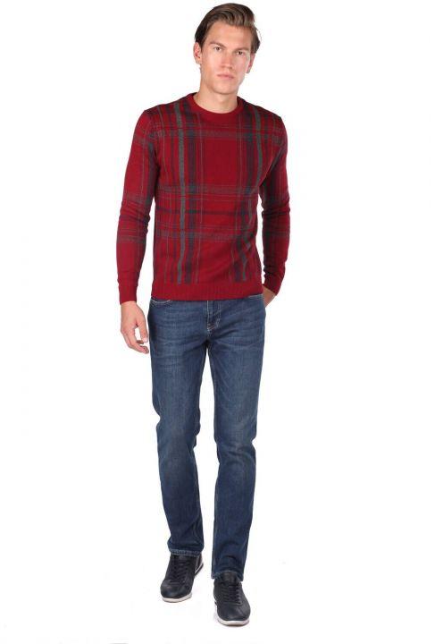 Синие белые мужские джинсы индиго