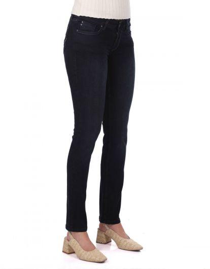 بنطلون جينز أزرق وأبيض وأزرق كحلي - Thumbnail