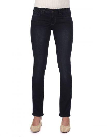 Синие Белые Темно-Синие джинсовые брюки - Thumbnail