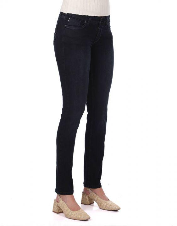 Синие Белые Темно-Синие джинсовые брюки