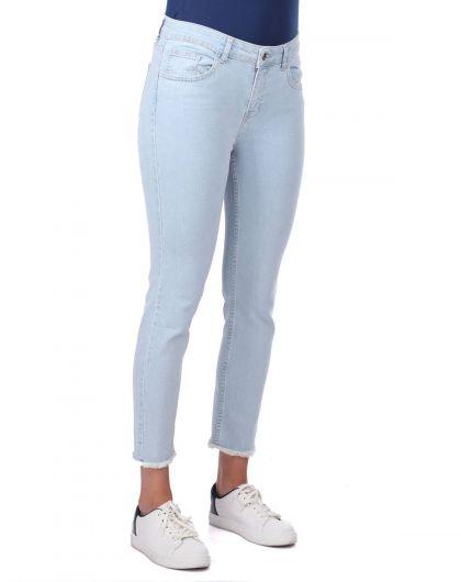 BLUE WHITE - Бело-синие джинсовые брюки с вырезом (1)