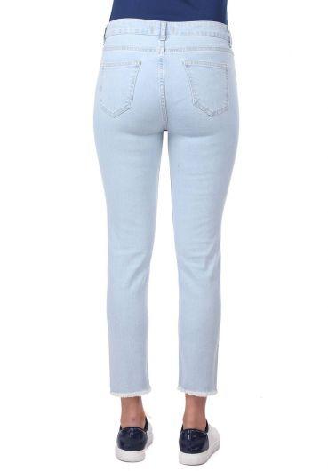 Blue White Paçası Kesik Jean Pantolon - Thumbnail