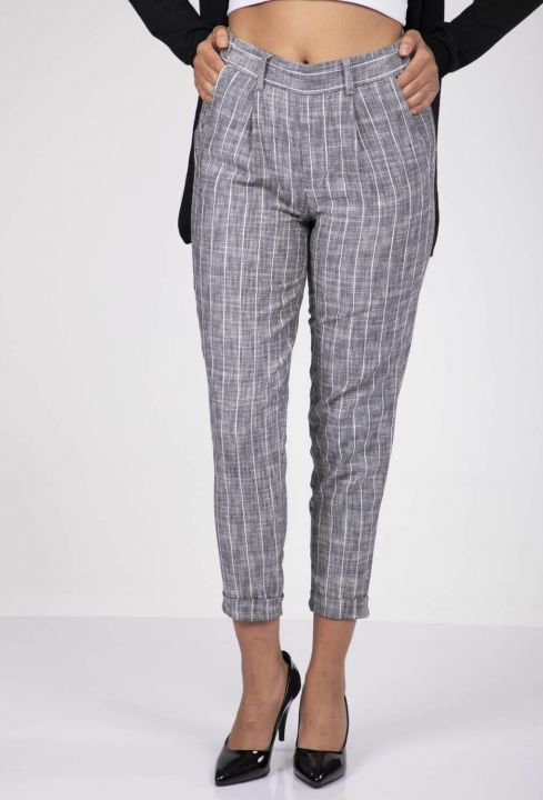 Blue White Striped Trousers