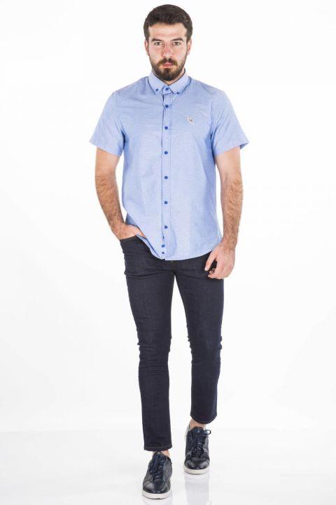 قميص أزرق أبيض قصير الأكمام