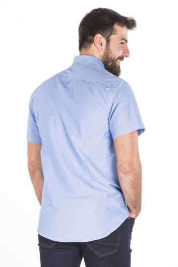 Сине-белая рубашка с коротким рукавом - Thumbnail