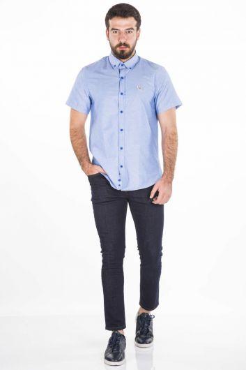 BLUE WHITE - Сине-белая рубашка с коротким рукавом (1)
