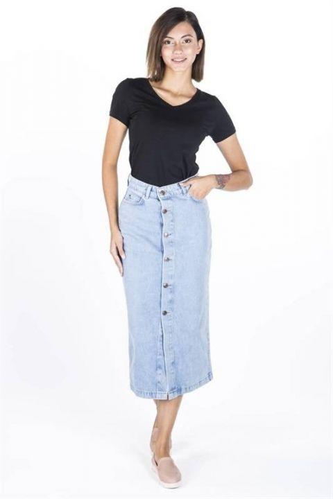 Сине-белая женская джинсовая юбка-миди на пуговицах