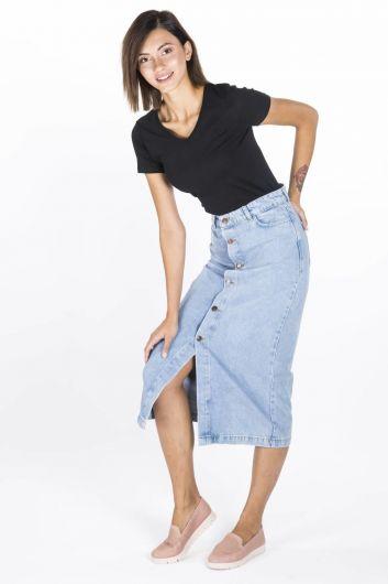 BLUE WHITE - Сине-белая женская джинсовая юбка-миди на пуговицах (1)