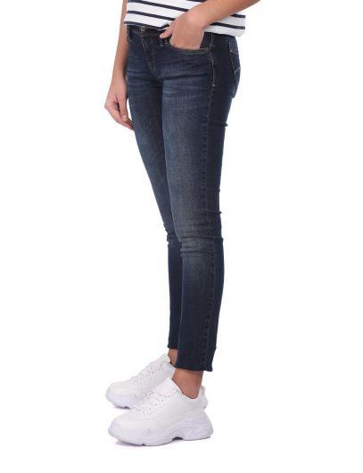 BLUE WHITE - بنطلون جينز نسائي بقصة ضيقة أزرق أبيض (1)