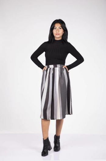 BLUE WHITE - Blue White Striped Pleated Skirt (1)