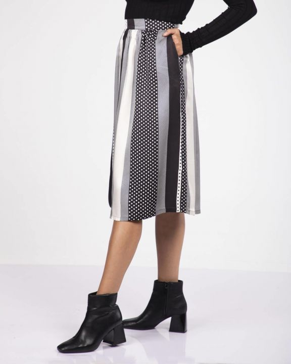 Blue White Striped Pleated Skirt