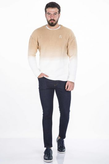 BLUE WHITE - Blue White Color Crew Neck Sweatshirt (1)