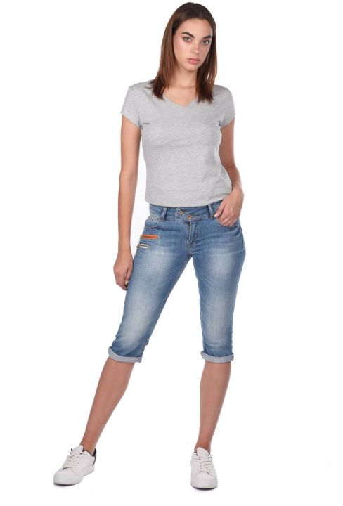 Blue White Women's Capri