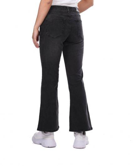 Женские черные джинсовые брюки больших размеров сине-белого цвета - Thumbnail