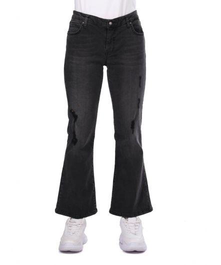 Blue White Women's Black Plus Size Jean Trousers - Thumbnail