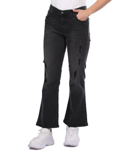BLUE WHITE - Blue White Women's Black Plus Size Jean Trousers (1)